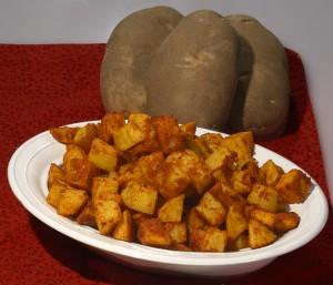 Crispy hash brownms and raw potatoes.